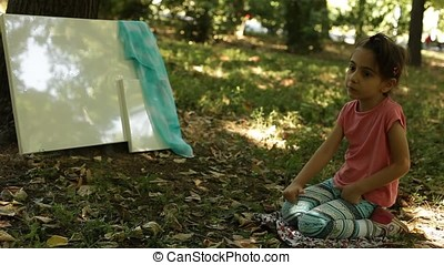 Little Girl Portrait Beside Painting Canvas in Forest -...