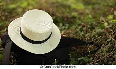 Straw Boater Laying Down on Ground Top View - Women's straw...