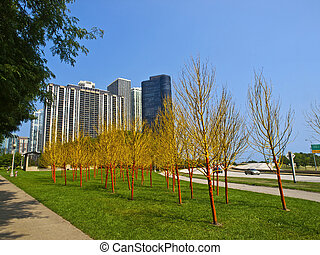 Painted Trees in Butler Field, Chicago