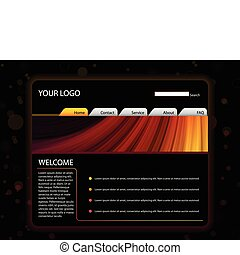 Website Layout Template in Red and Yellow Colors - Vector -...