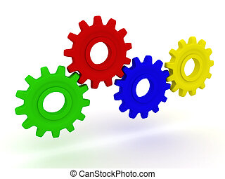 3d Four coloured gears stand. - The mechanism. Four coloured...