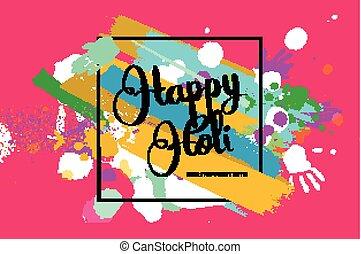 Happy holi on a background of hand prints. Happy Holi...