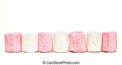 marshmallow line up - Line up of alternating pink and white...