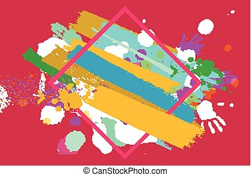 Happy holi on a background - Bright color Vector Paint...