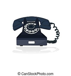 old telephone, vector illustration