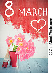 Woman's day concept - Bouquet of tulips on wood table....