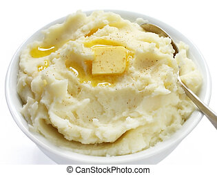 Mashed Potato - Bowl of mashed potato with melting butter...