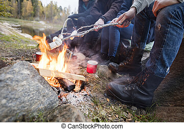Friends Roasting Marshmallows Over Campfire At Lakeshore -...