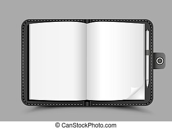 open notepad gray background