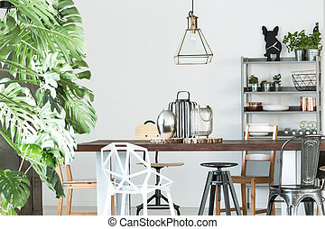 Room with wood communal table - White room with white...