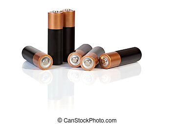 Batteries - AA batteries, casting reflection on white...