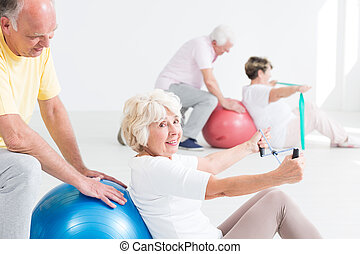 Senior people working out