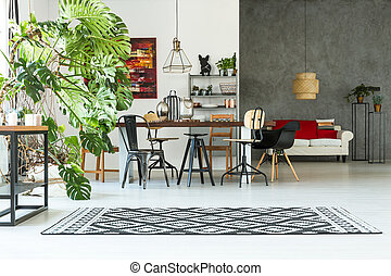 Loft interior with communal table - Grey and white loft...