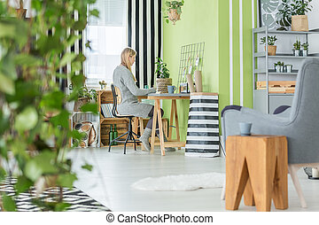 Functional office and living room - Functional green home...