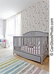Bright child room with the stylish cot - Bright child room...