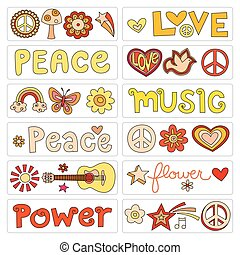 Peace and love set - Graphic elements for a peace and love...