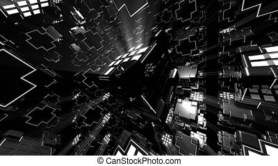 VJ 4K Strobe Cubes - 4K abstract black and white VJ seamless...