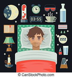 Young man with sleep problem insomnia and items. - Young man...