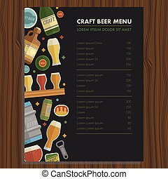 Craft beer menu template for bar and restaraunt. Differens...