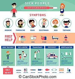 Sick People Infographic Template - Sick people infographic...