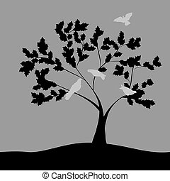 Spring vector illustration with doves on tree.