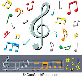 music notes with shadows - set of basic color notes and...