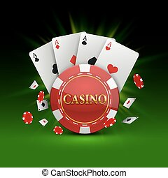 Chips and cards Casino banner. Vector illustration