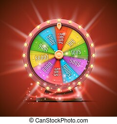 Colorful fortune wheel. isolated on red background.