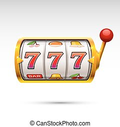 Golden slot machine wins the jackpot. isolated on white...