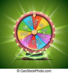Colorful fortune wheel. isolated on green background.