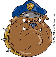 Bulldog Policeman Head Cartoon