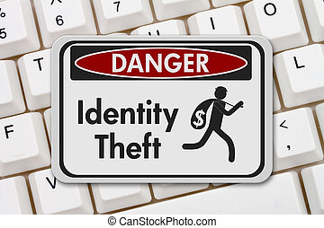 Identity theft danger sign - ID theft danger sign, A black...