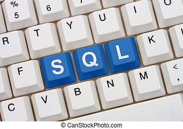Computer coding with SQL, A close-up of a keyboard with blue...