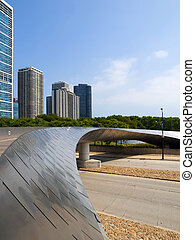 Millennium Park Bridge, Chicago - The BP Pedestrian Bridge...