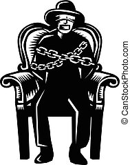 Man Gagged Chained to Grand Arm Chair Woodcut - Illustration...