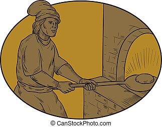 Medieval Baker Bread Peel Wood Oven Oval Drawing