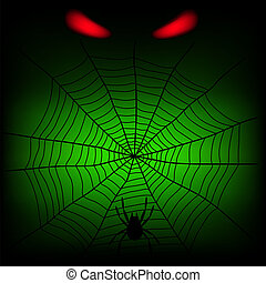 spider web and red divil eye on the dark background