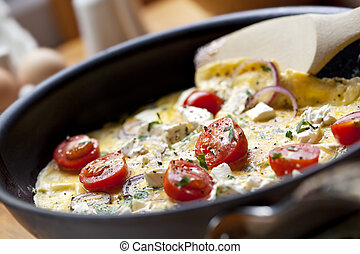 Cooking Omelet - Cooking omelet in a pan, ready to serve....