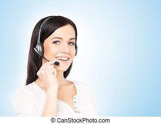 Customer support operator working in a call center office....