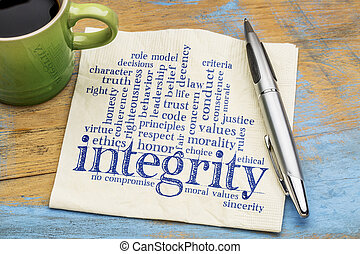 integrity word cloud on napkin with coffee - integrity word...