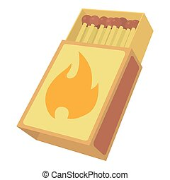 Box matches icon , cartoon style - Box matches icon. Cartoon...