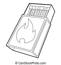 Box matches icon , outline style - Box matches icon. Outline...