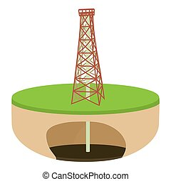 Oil derrick icon, cartoon style - Oil derrick icon. Cartoon...