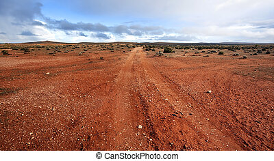 Outback Panorama - Track in the Australian outback, outside...