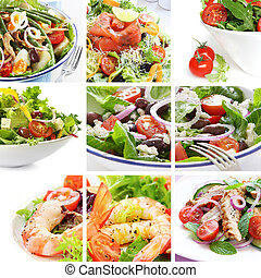 Salad Collage - Collage of salads, including Nicoise, Greek,...
