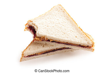 peanut butter and jelly sandwich - photo shot of peanut...