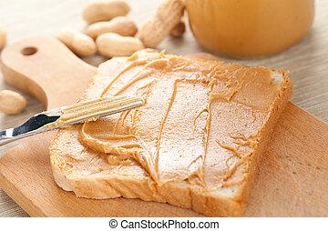 peanut butter sandwich - photo shot of peanut butter...