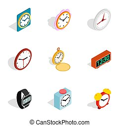 Time equipment icons, isometric 3d style