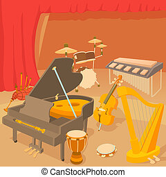 Musical instruments concept, cartoon style - Musical...