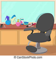 Hairdressing workspace concept, cartoon style - Hairdressing...